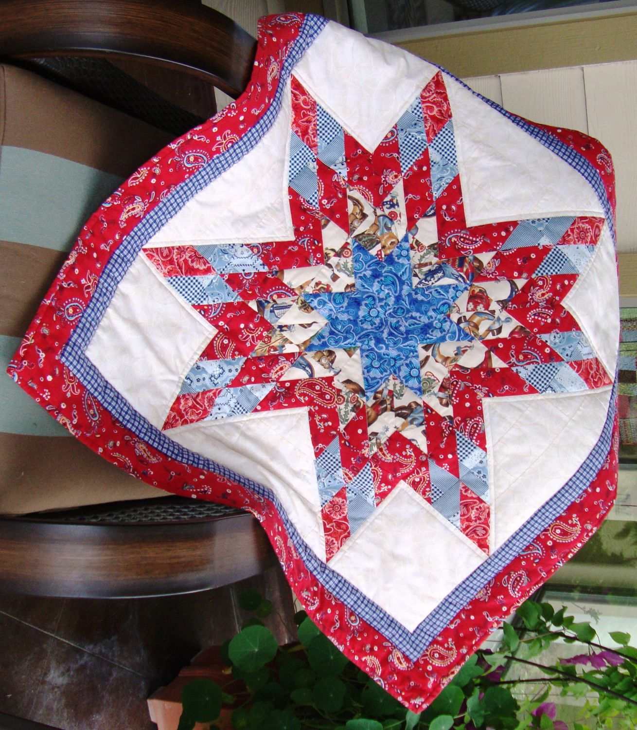 Texas Star Quilt Western Fabric 60 00 Via Etsy Western