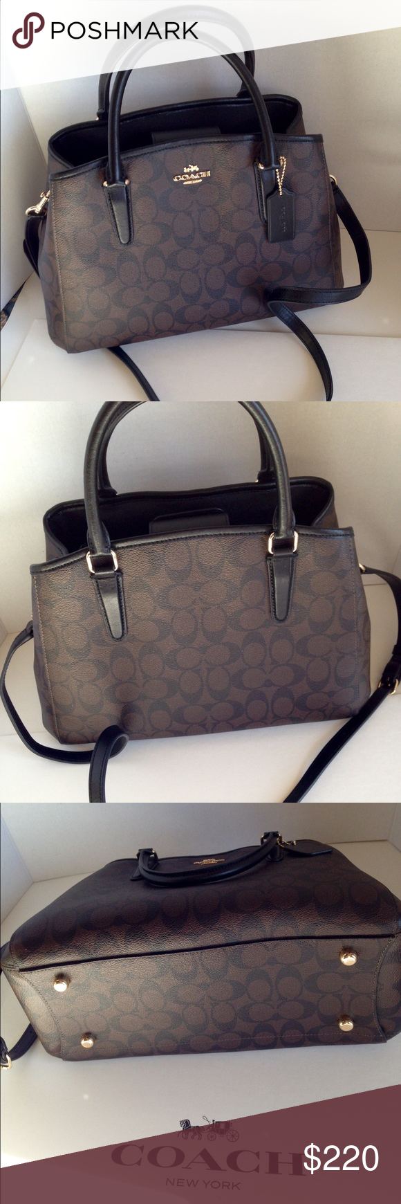 NWT Coach Margot Carryall Handbag NWT PVC coated canvas signature small  Margo carryall black brown handbag. Gold-toned hardware trimmed in black  leather. 086836f558