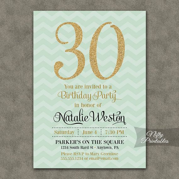 Mint Green Gold Birthday Invitations ANY AGE By NiftyPrintables 1500