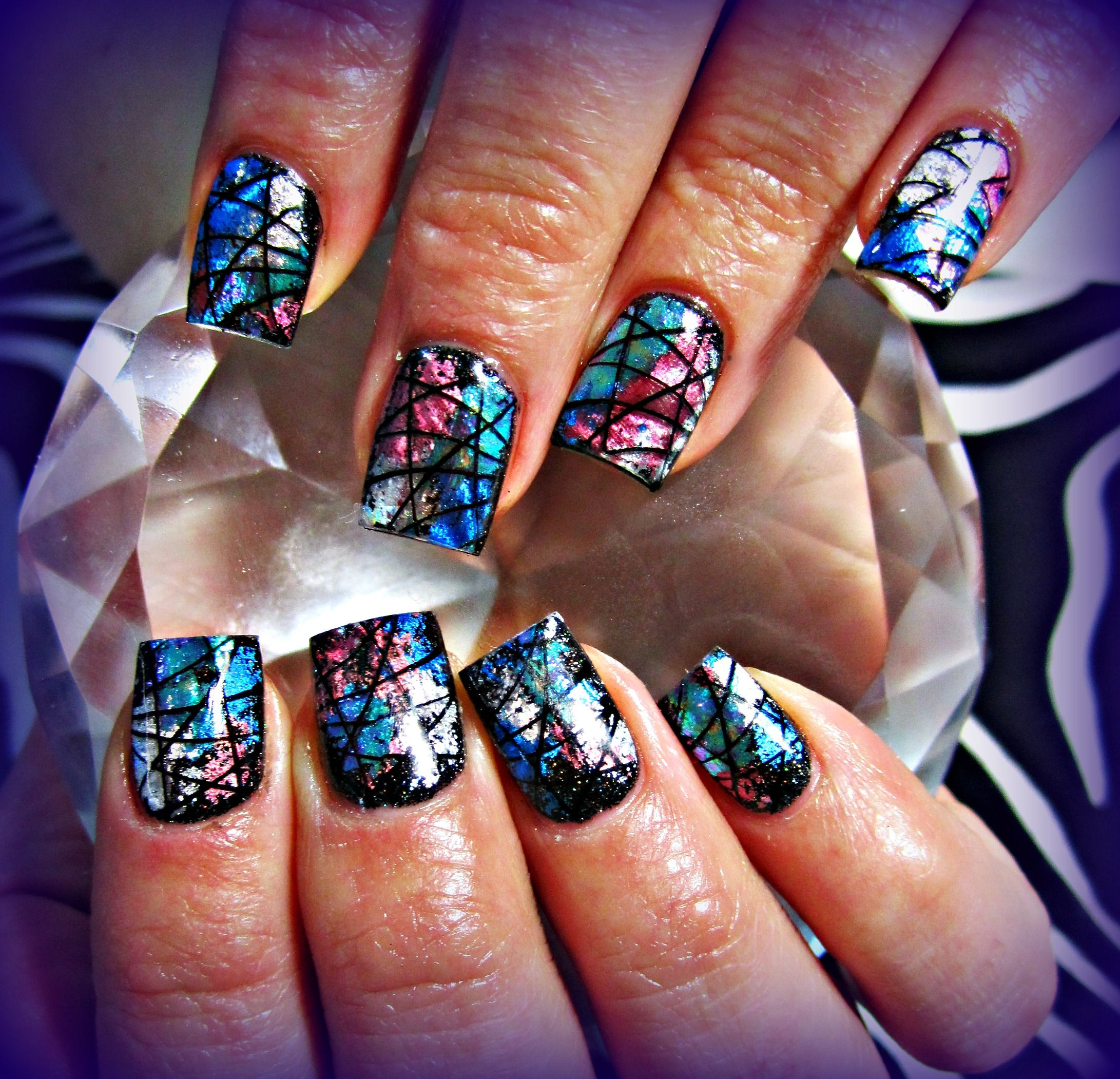 Transfer Foil Acrylic Nails