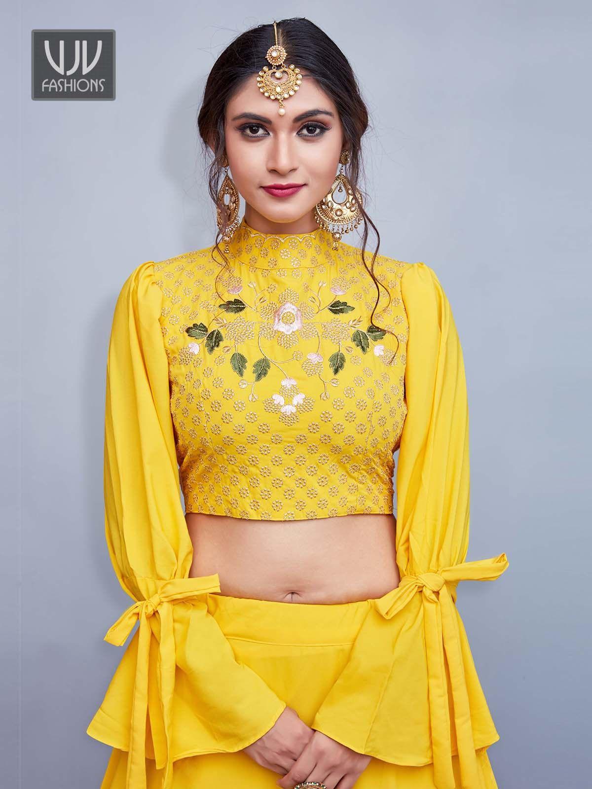 Beautiful yellow color crepe silk designer lehenga choli
