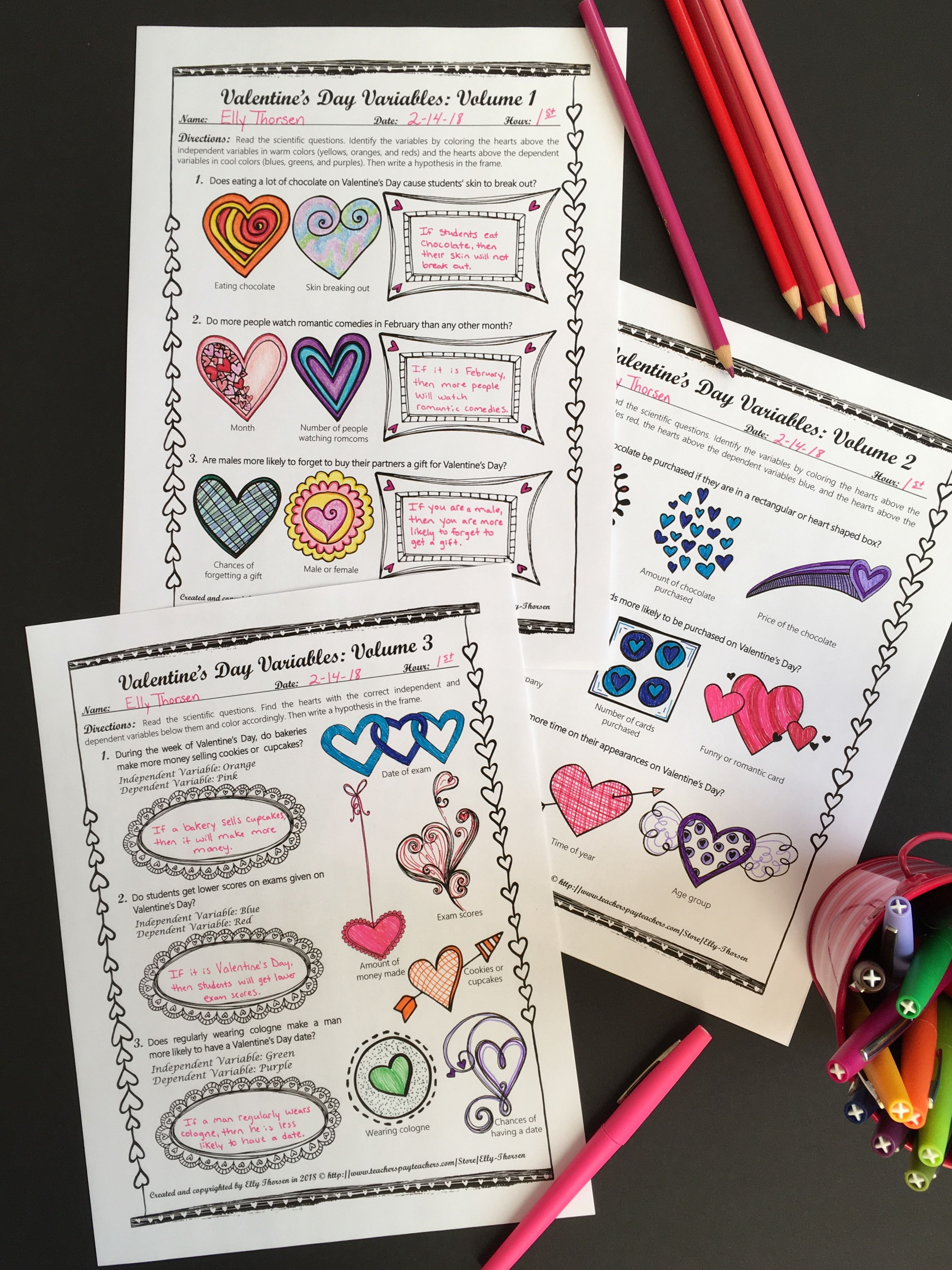 Valentine S Day Variables Coloring Worksheet Set Middle School