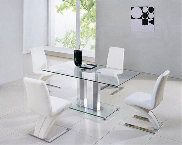 ce2c396e9f4 Alba Large Chrome Clear Glass Dining Table