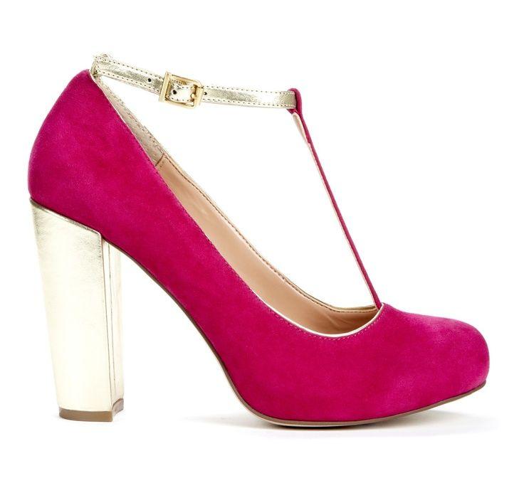 Fuschia Low Heel Wedding Shoes: Retro Shoes, Heels