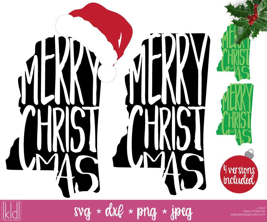 State of Mississippi Christmas svg pack with and without