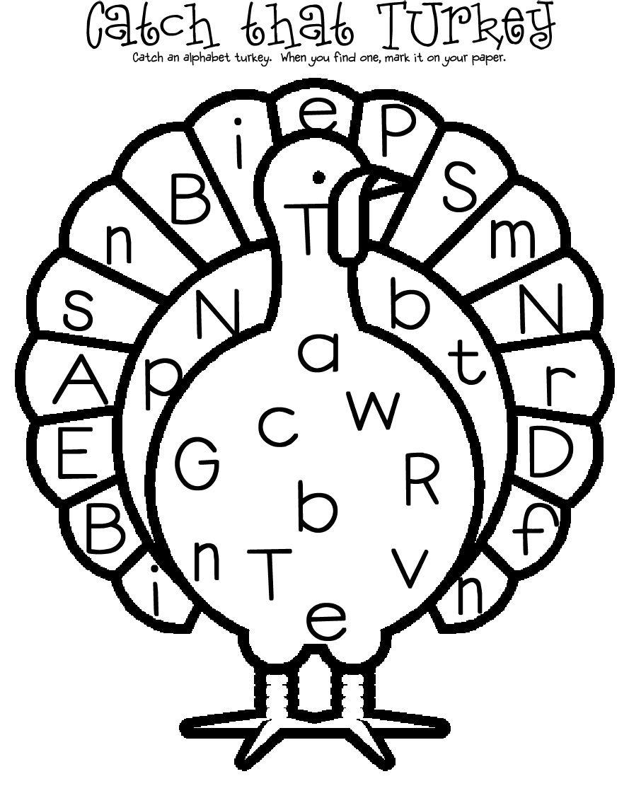 alphabet turkey hunt- put letters around the room. When