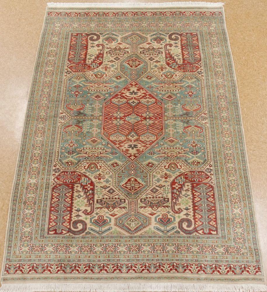 Caucasian Kazak Hand Knotted Wool Blue Green Ornate New Oriental Rug 7 X 9 Oriental Rug Rugs Oriental