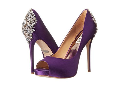 Badgley Mischka Kiara Purple Satin - Zappos.com Free Shipping BOTH ...