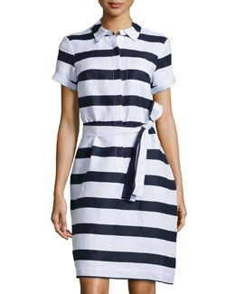 T9L7F Neiman Marcus Striped Linen Shirtdress, Navy/White