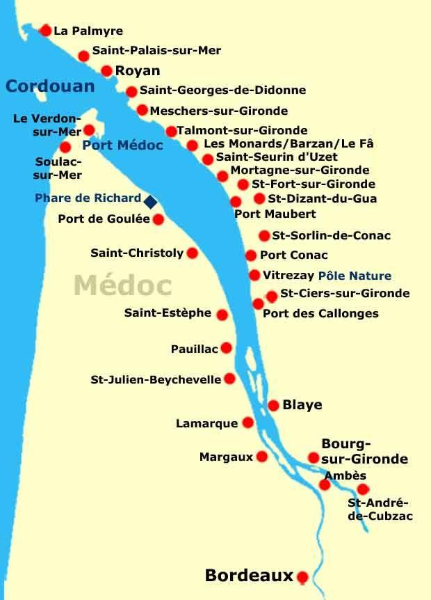 Carte Fleuve Bordeaux.Estuaire Gironde Carte Villes Plus Jet Set Bordeaux En