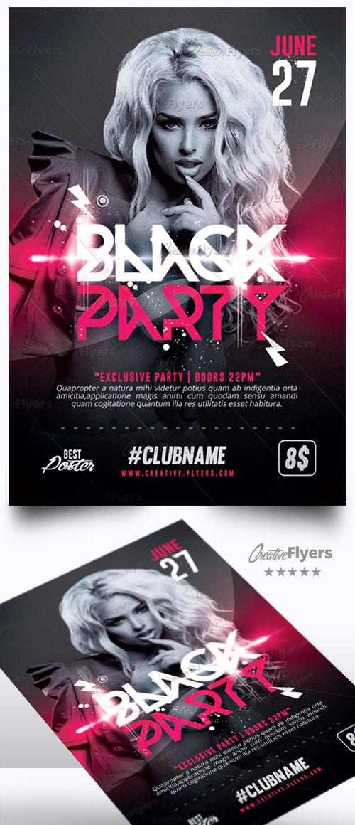 black party flyer design pinterest creative flyers black