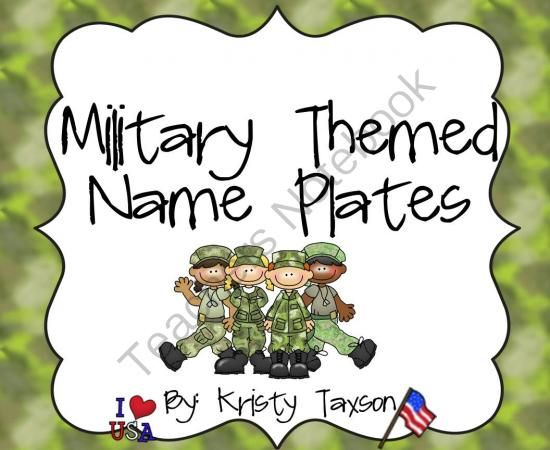 Military Themed Student Name Plates from Kindergarten Kristy on TeachersNotebook.com -  (13 pages)  - Are you sick and tired of buying name plates every year? Well stop! Buy them once and have them for the rest of your life! These Military-themed name plates come in 22 different styles with 11 boy images and 11 girl images. Print them out, laminate them a