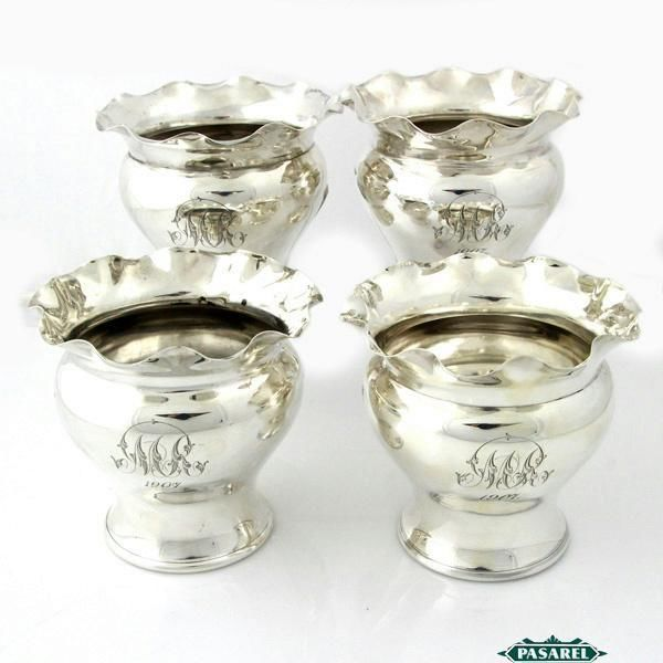 Edwardian Sterling Silver 4 Fern Pots By Walker & Hall Sheffield England 1907 ~ first I've seen that are sterling.