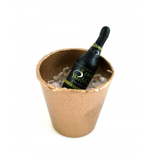 Dolls House Miniature Pub Bar Dining Accessory Champagne on Ice in Gold Bucket