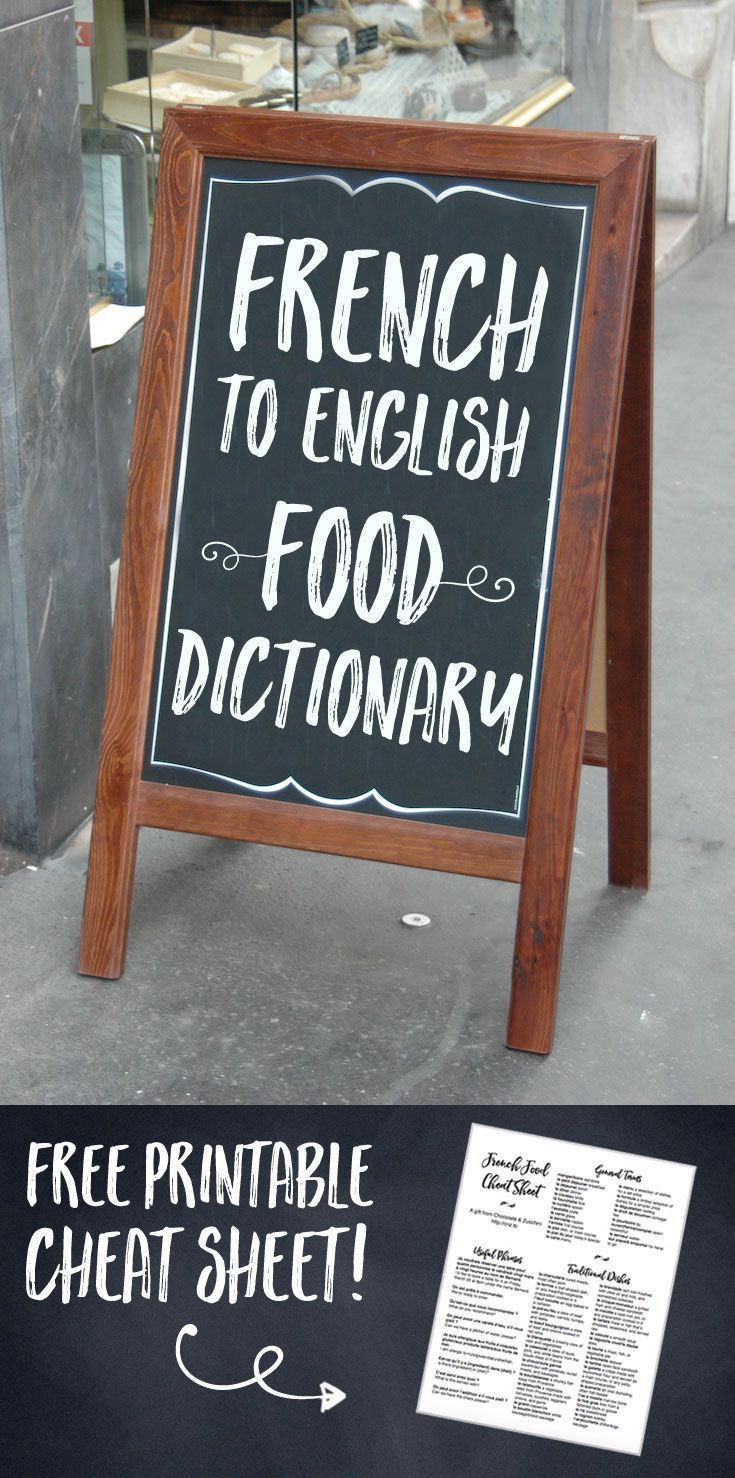 FrenchEnglish Food Dictionary French restaurant menu