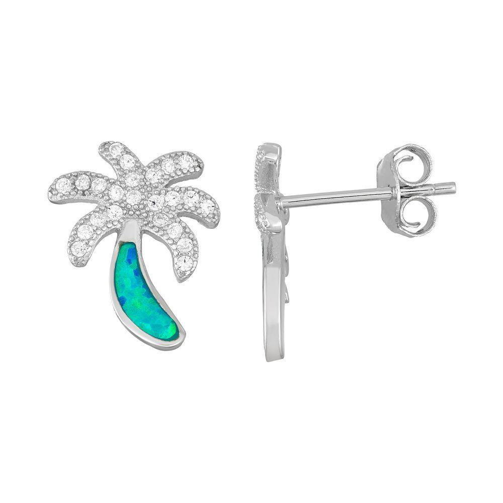 Sterling Silver Cubic Zirconia & Lab-Created Blue Opal Palm Tree Stud Earrings, Women's