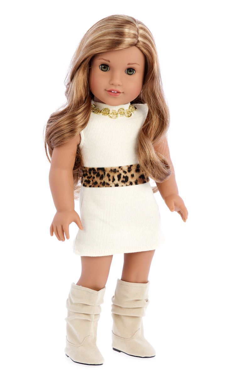 Fashion Girl - Clothes for 18 inch Doll - Cheetah Coat, Ivory Dress ...