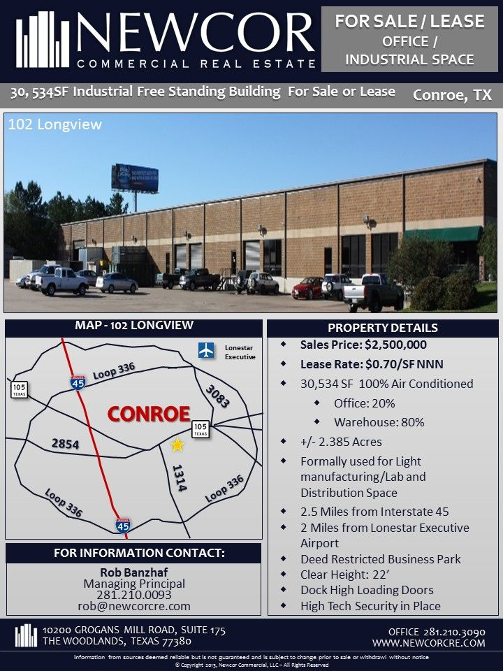 New Listing For Sale Lease 30k Sf Free Standing Office Industrial Space Conroe Tx Industrial Office Industrial Space Standing Office