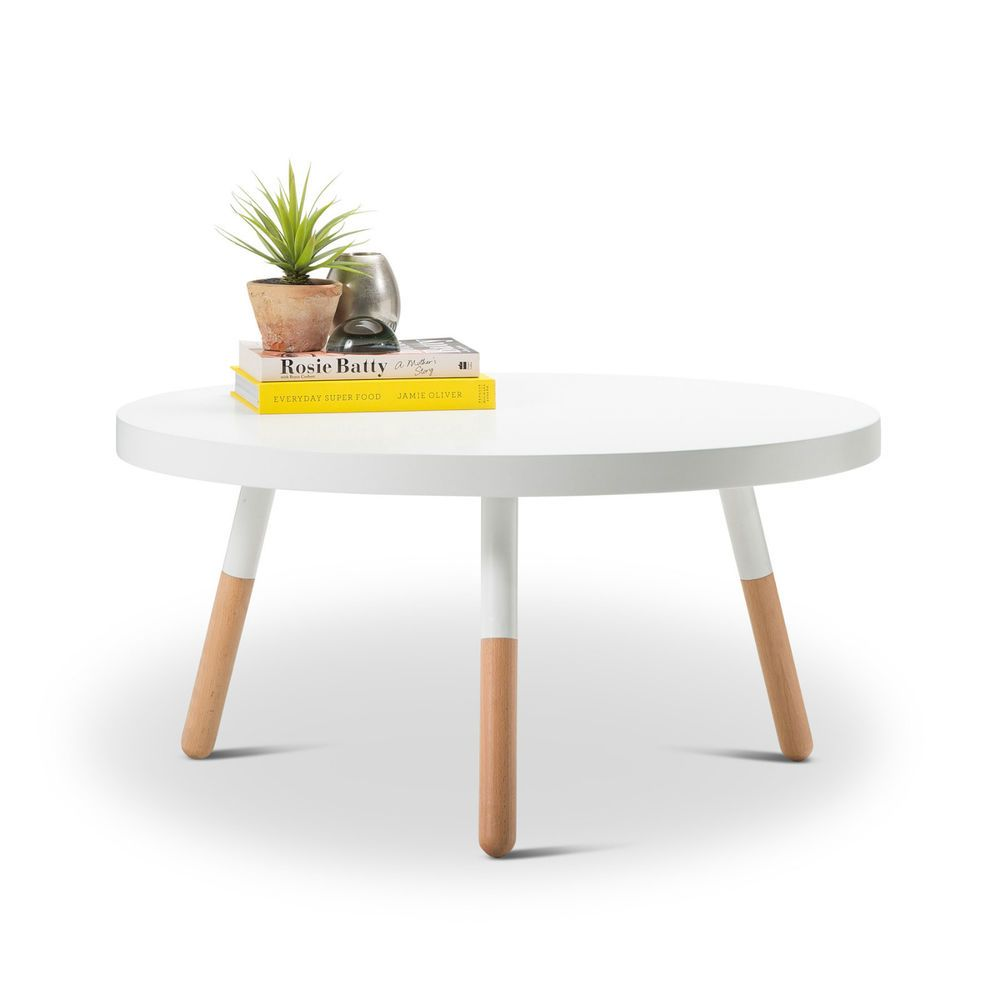 details about danish design modern retro round white coffee table w wood legs