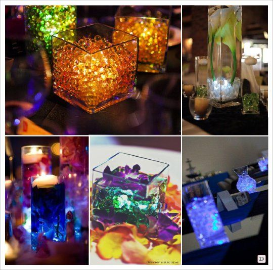 Centre de table mariage lumineux led submersible perles - Grand verre a pied centre de table ...