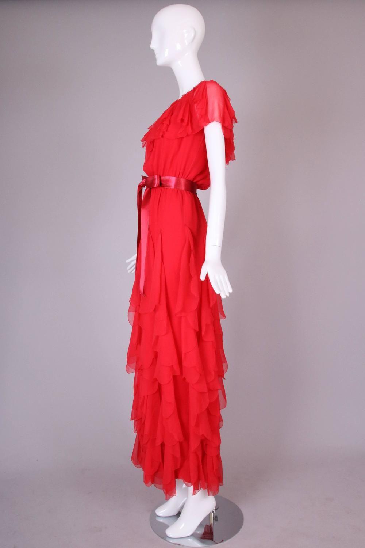 6abe02126e83 Vintage Yves Saint Laurent YSL Red Silk Chiffon Ruffled Evening Gown Dress 4