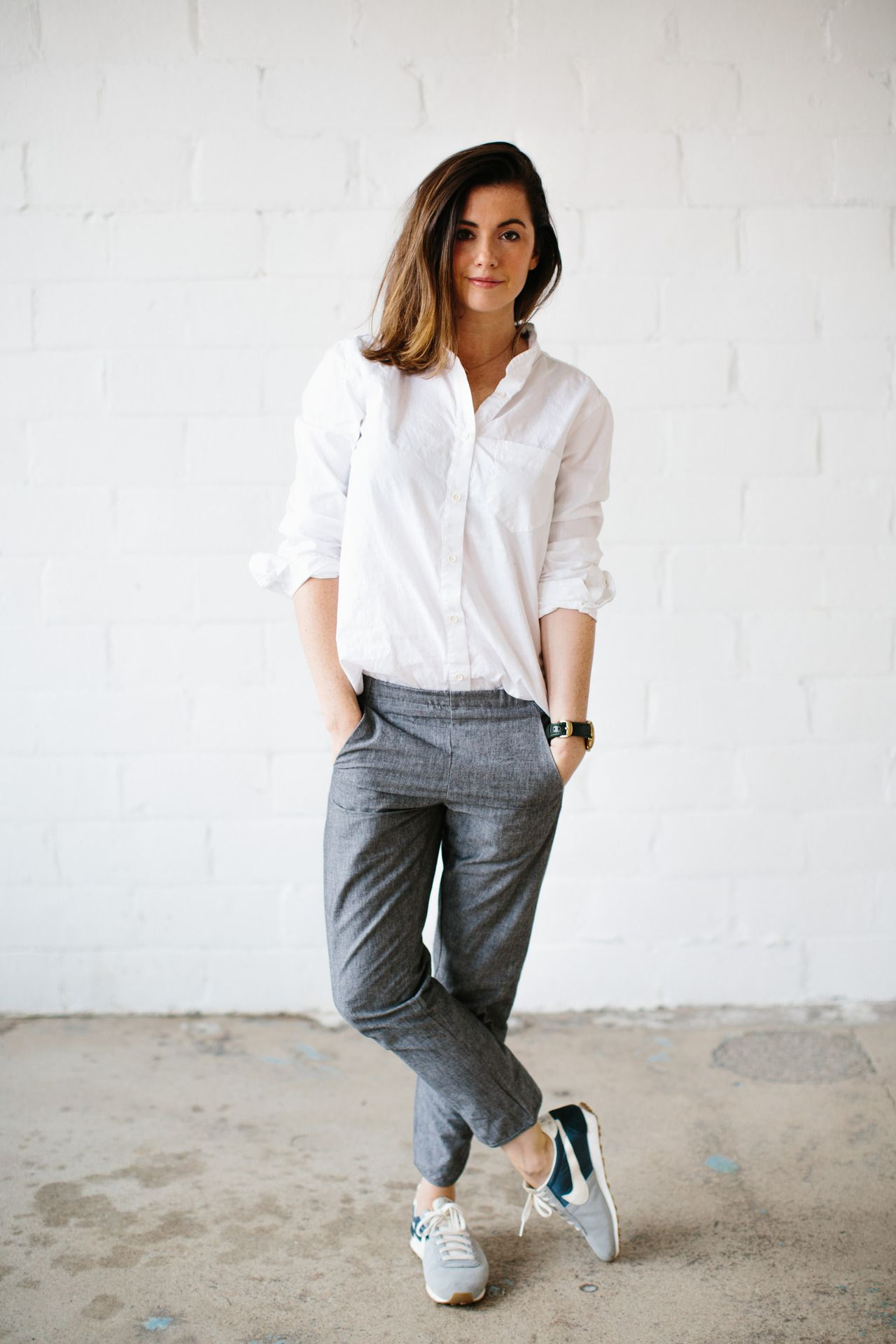 White long sleeve button shirt with grey pants / nike shoes / smart casual  outfit / minimal outfit