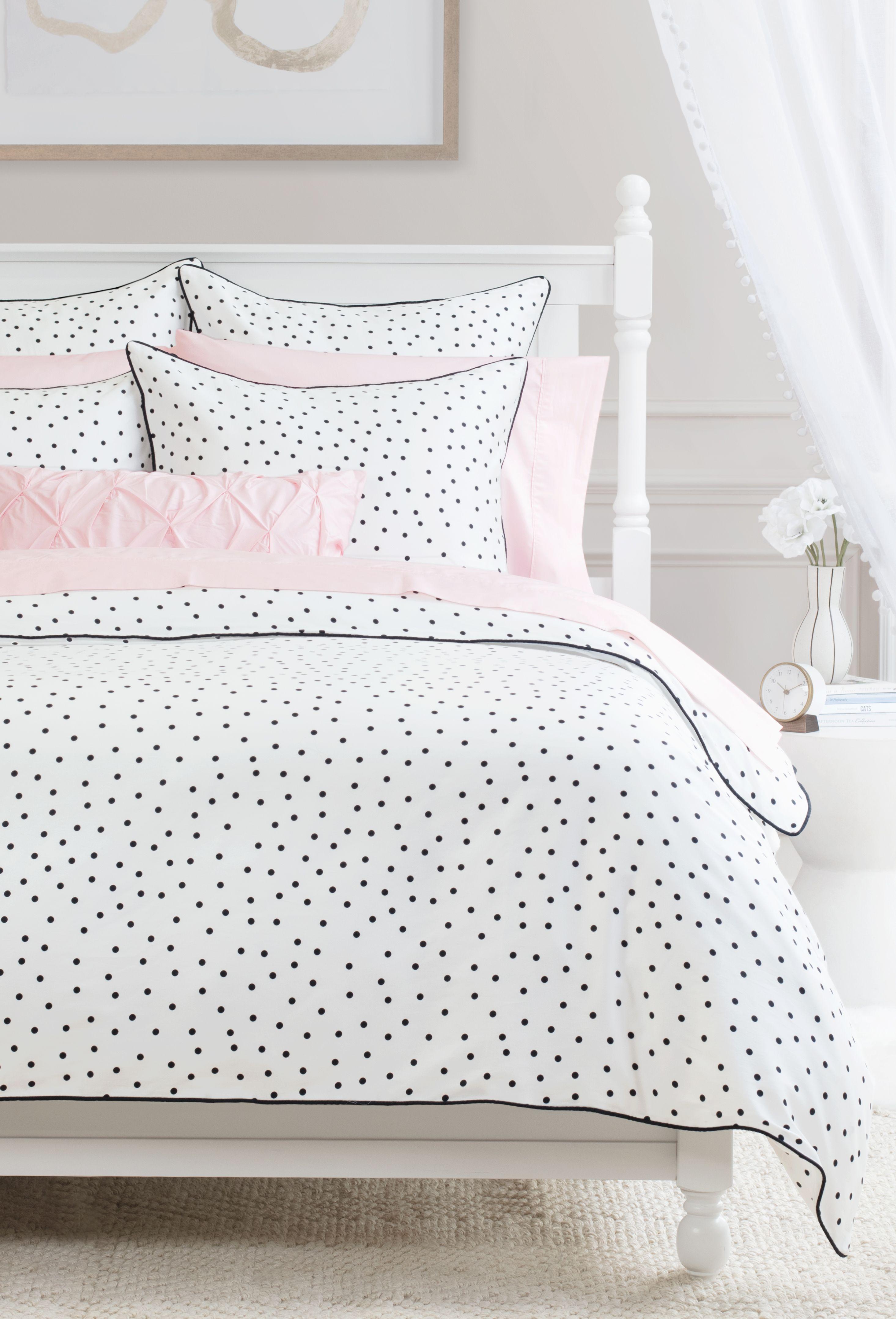 Our Harper Polka Dot Bedding Complete With Whimsical Black Dots Adds Playful Sophistication To Polka Dot Bedroom Quality Duvet Covers Bedding Master Bedroom