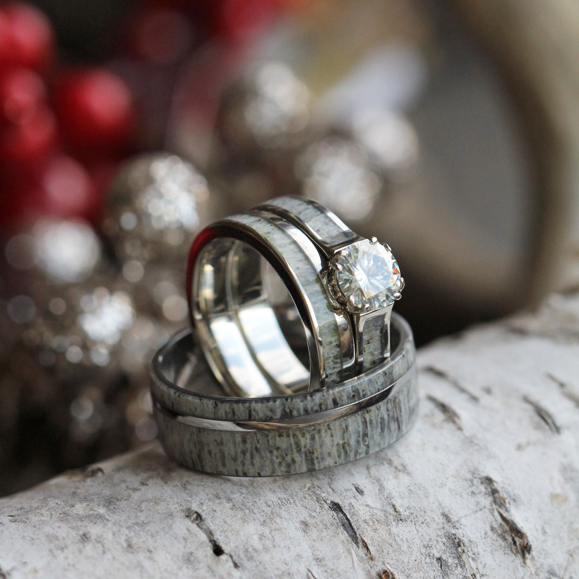 Deer Antler Wedding Ring Set With Moissanite Bridal Set And Men's Band