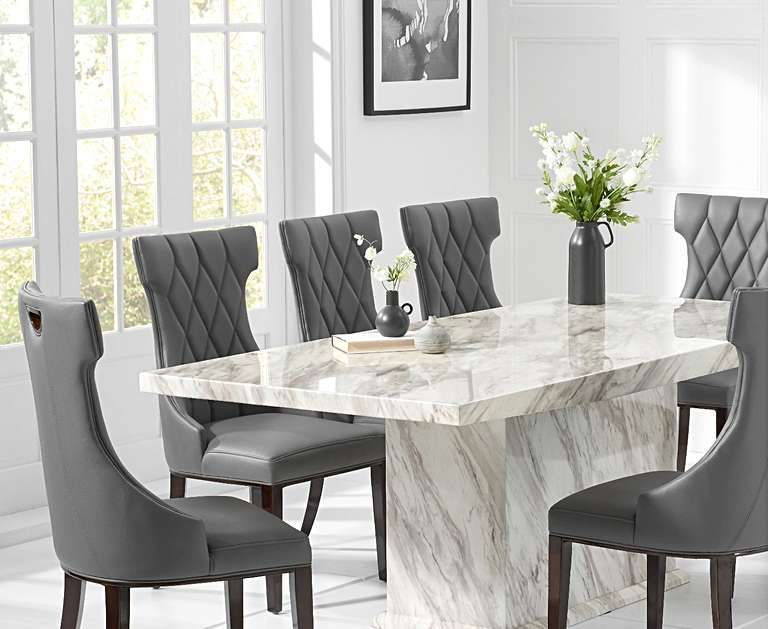 Calacatta 220cm Marble Dining Table With Freya Chairs