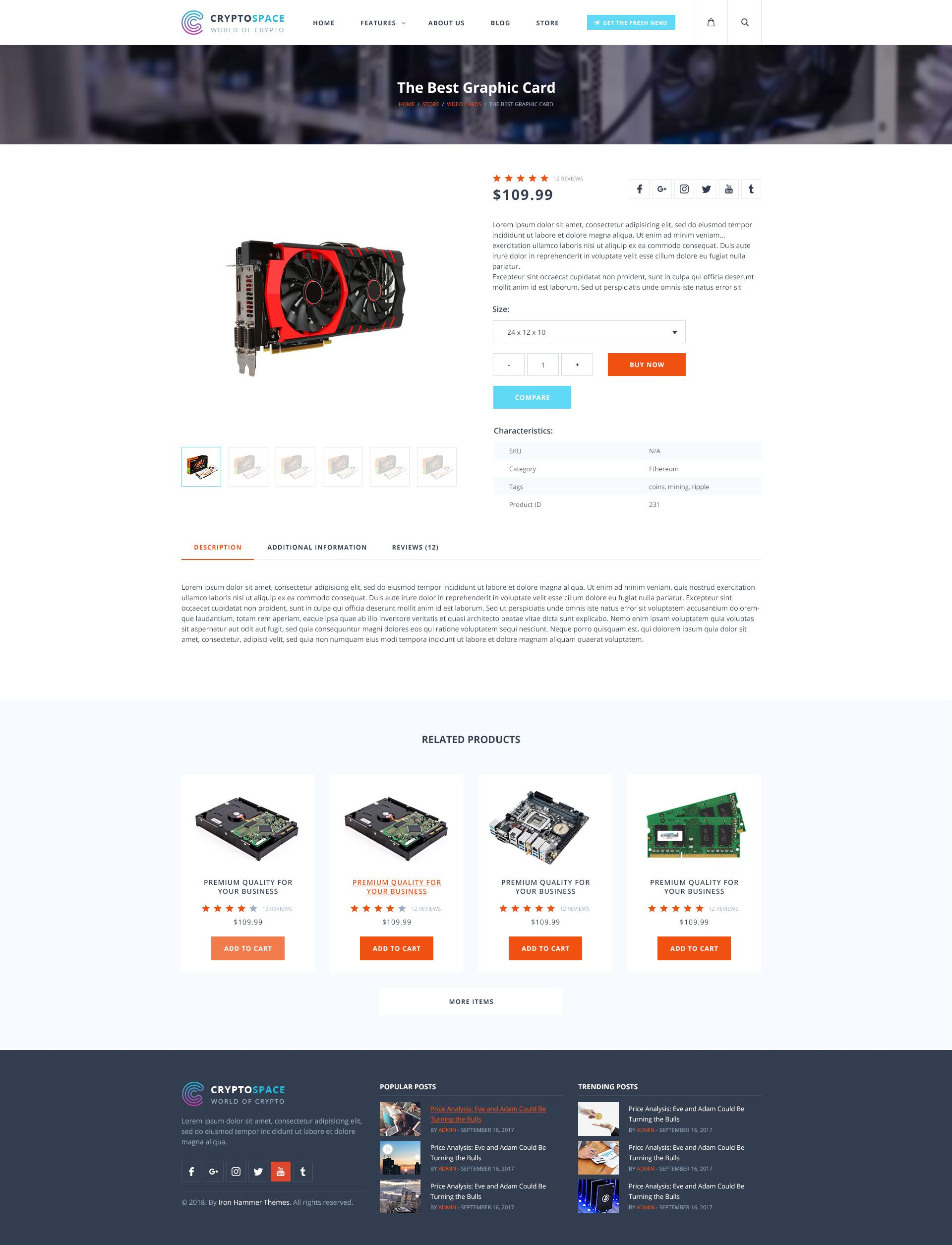 CryptoSpace Bitcoin Crypto Currency PSD Template (With