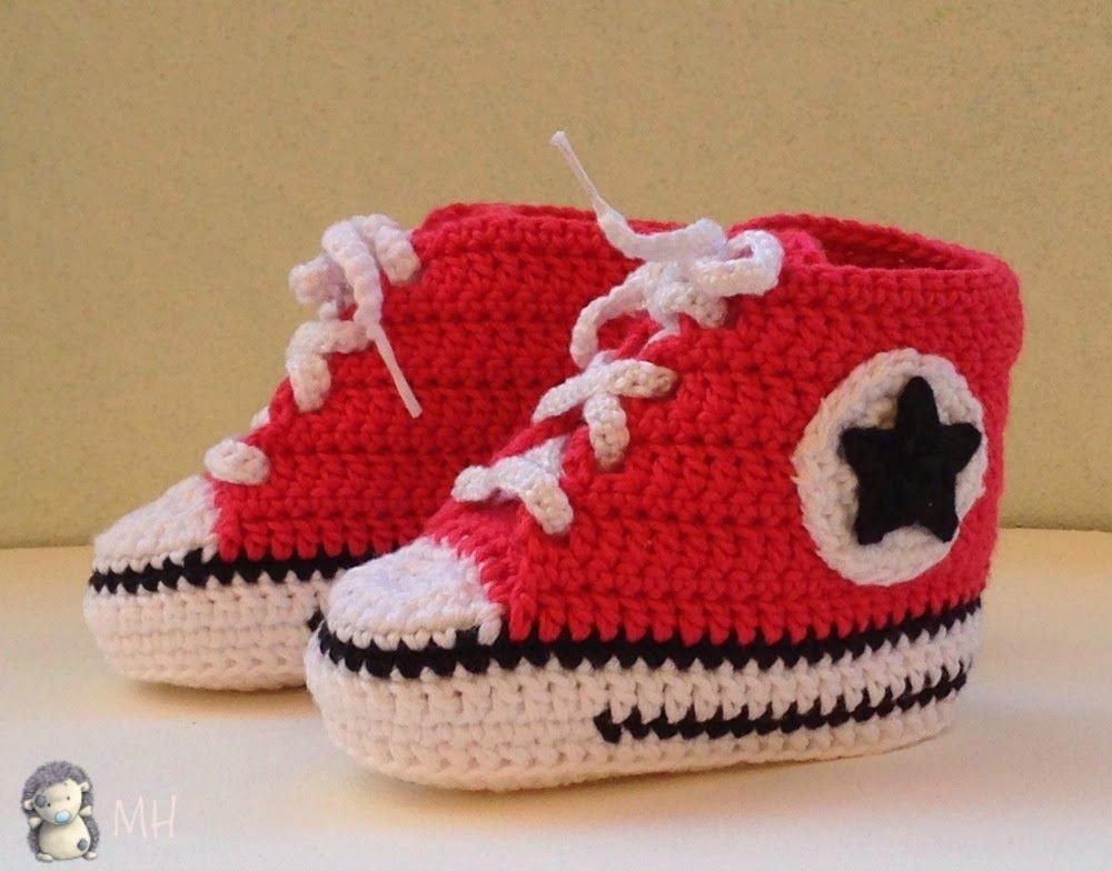 patrones zapatillas converse a crochet