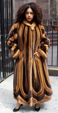 Plus Size Mahogany Mink Fur Coat Big Rouched Fur Collar Cuffs 1235 ...