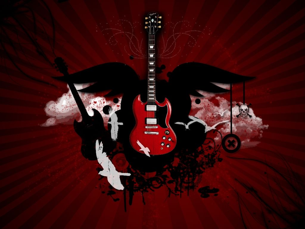 Click Here To Download In HD Format Red Guitar Wallpaper
