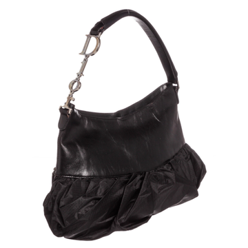 b1bfae282bd303 Black nylon leather Christian Dior corset hobo with silver-tone hardware