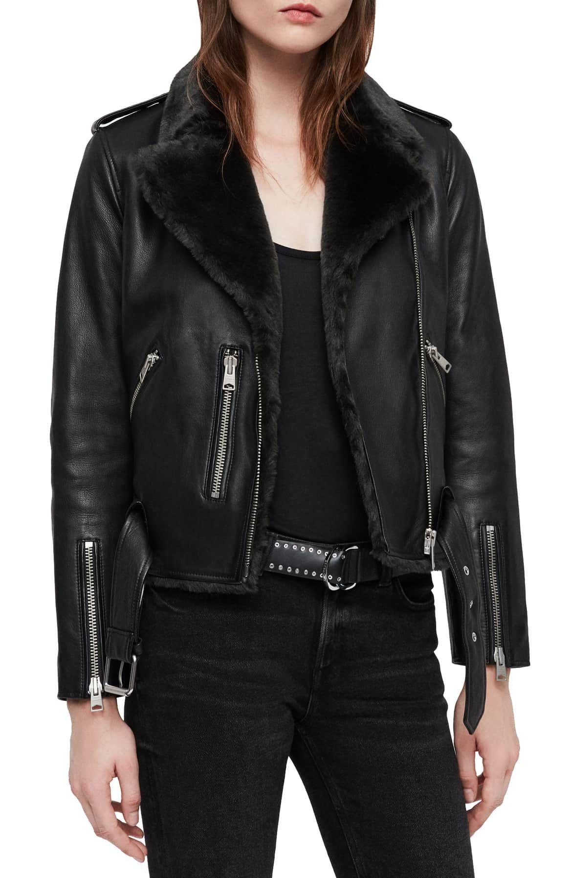 Allsaints Balfern Lux Leather Biker Jacket With Faux Fur Trim Nordstrom Jackets Coats Jackets Women Biker Jacket [ 1794 x 1170 Pixel ]