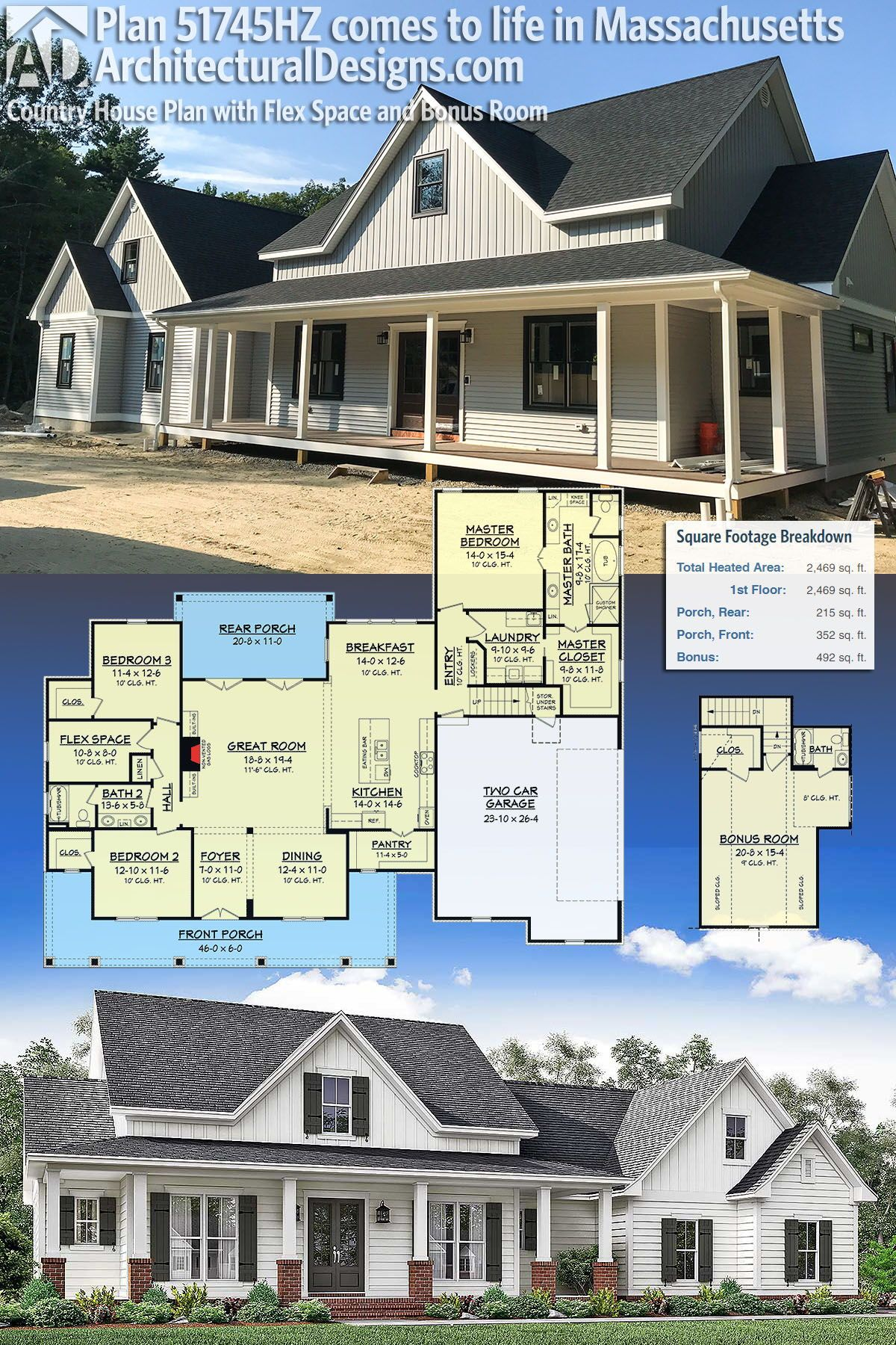 Plan 51745hz Country House Plan With Flex Space And Bonus Room In 2020 House Plans Country House Plan Building A House