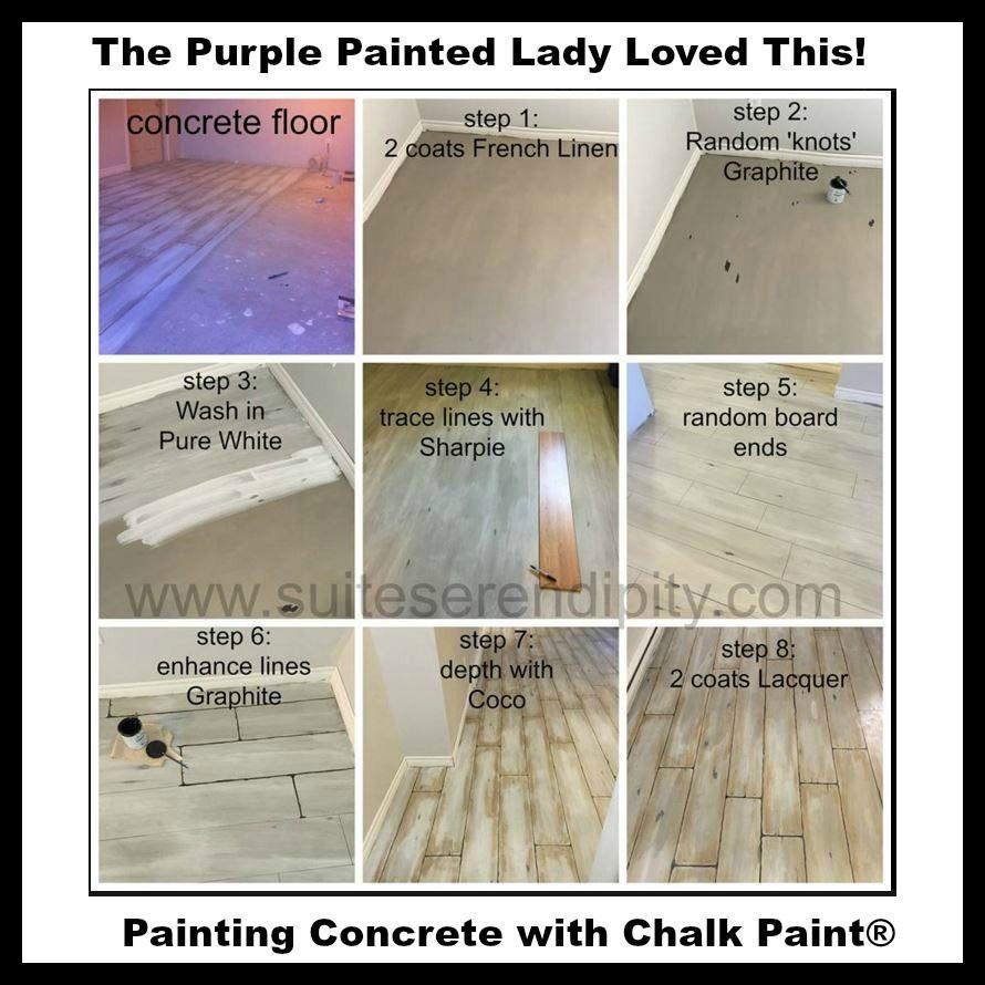 Chalk Paint On Your Concrete Floor Painted Concrete Floors Painted Concrete Porch Faux Wood Flooring
