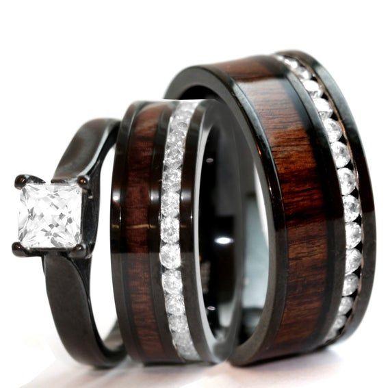 His & Hers Natural Koa Wood Ring Set Black Stainless Steel