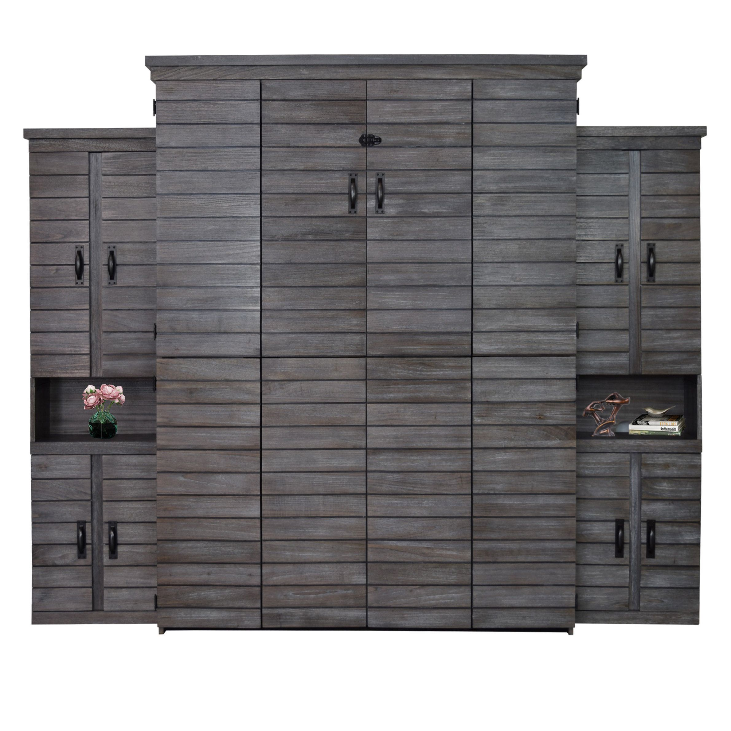 Farmhouse Shiplap Queen Murphy Bed With Two Door Bookcase In Grey White Finish Murphy Bed Murphy Bed Plans Modern Murphy Beds