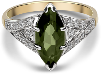 Chalfen of London's retro-inspired 'Cleo' ring features a 1.92ct green tourmaline stone. An ideal gift for a big birthday or anniversary. Book a viewing.