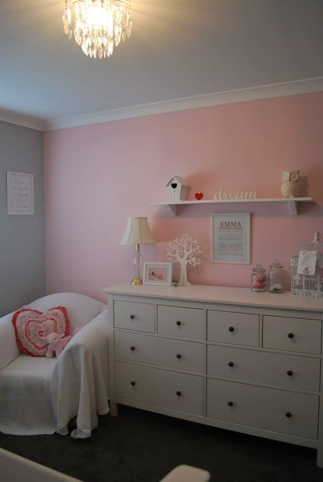 Emma 39 s room wall painted in dulux nursery grey wall is for Dulux childrens bedroom ideas