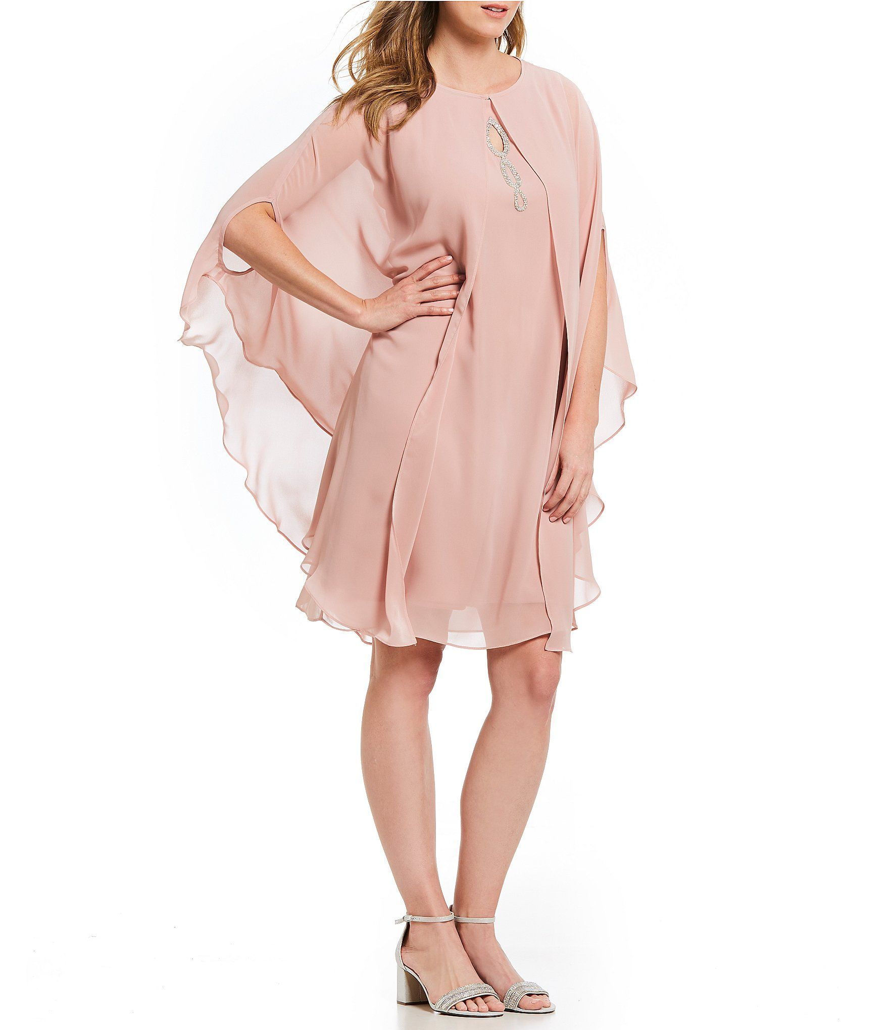 7a42182128 Ignite Evenings Beaded Capelet Dress  Dillards