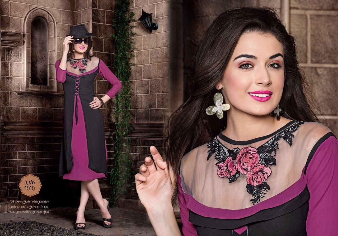 Royal Georgette Magenta And Black Kurti With Embroidery Work
