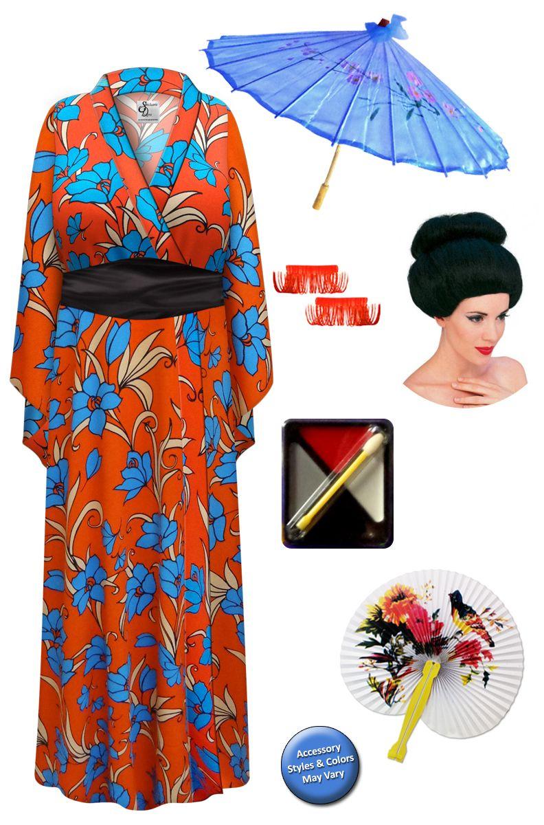 Fire & Ice Floral Print Geisha Costume Plus Size
