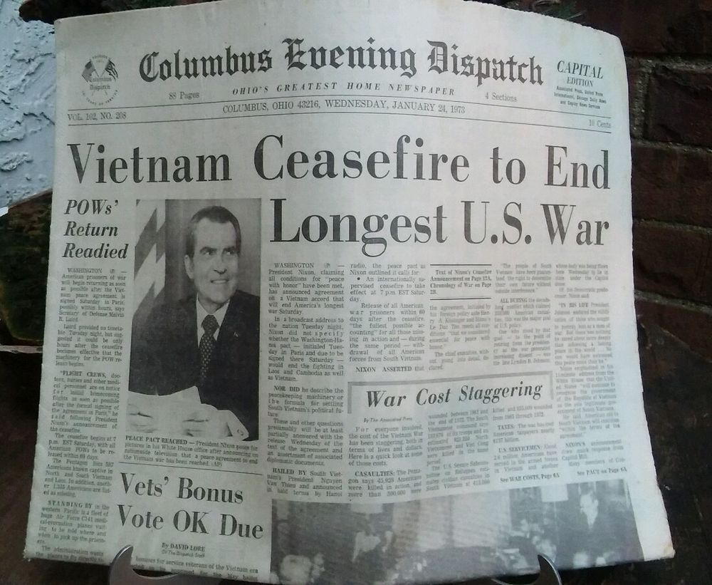 Columbus Dispatch January 241973 Vietnam Ceasefire End Longest War