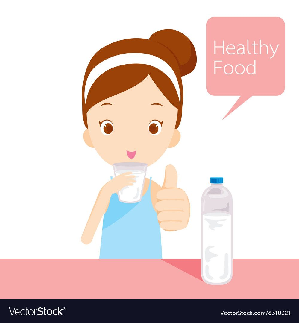 Cute Girl Drinking Water Vector Image On Vectorstock Girl In Water Medicine Illustration Water Illustration