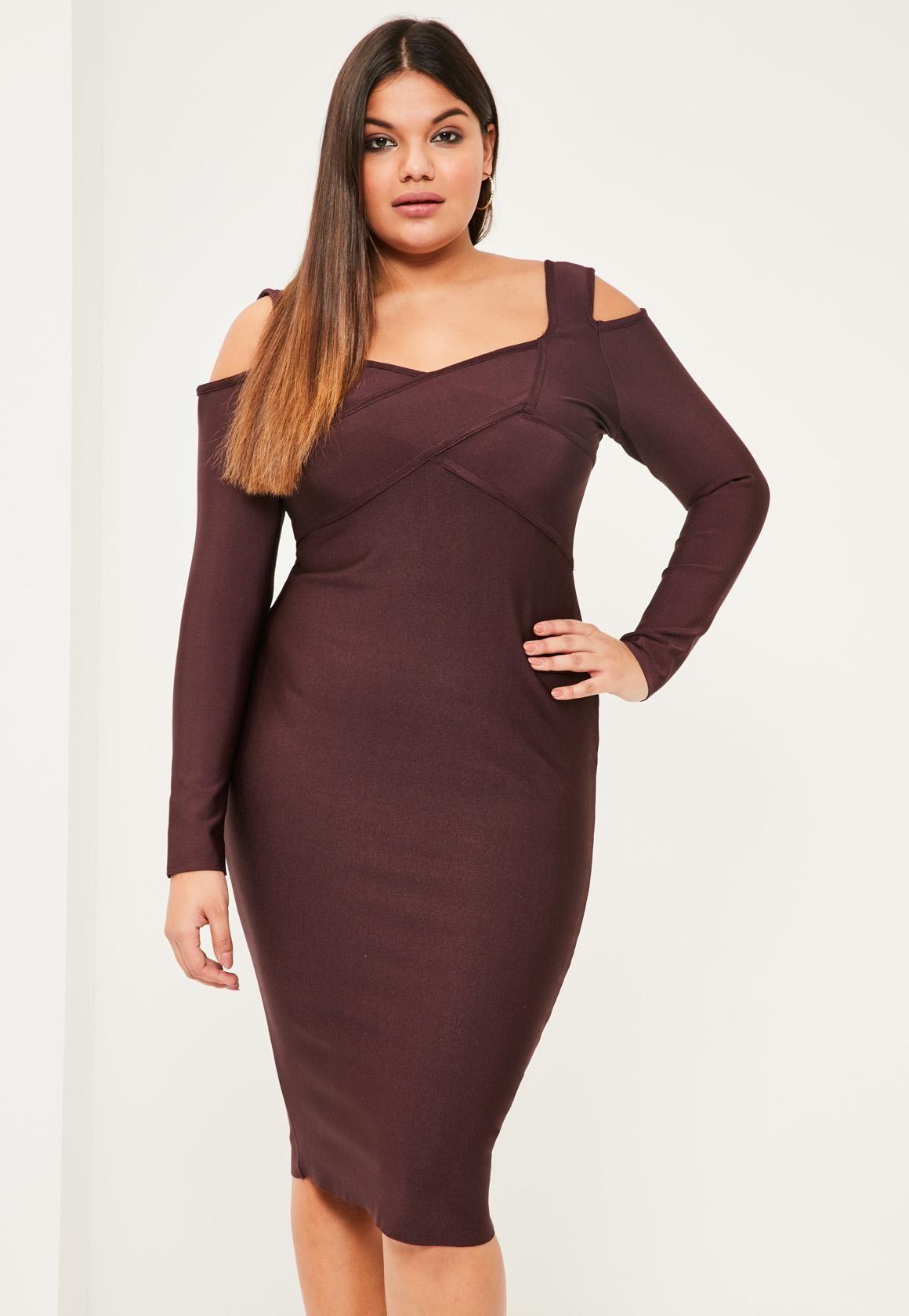 Missguided - Plus Size Purple Cold Shoulder Bandage Bodycon Dress ...