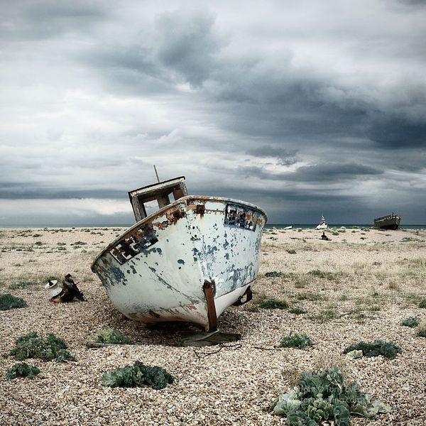Old Fishing Boats On Beach: Old Fishing Boat, Dungeness,kent,england,uk