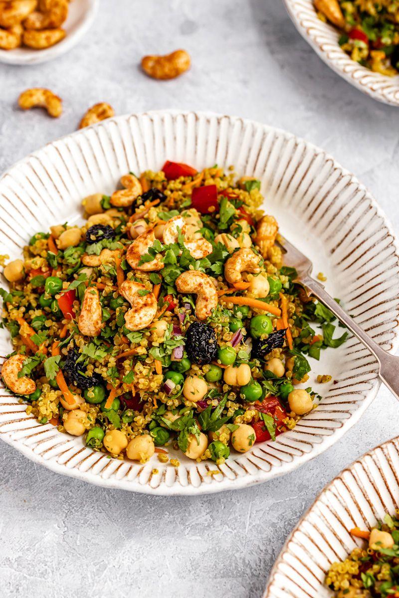 Vibrant Curry Cashew Chickpea Quinoa Salad Ambitious Kitchen Recipe In 2020 Quinoa Salad Meals Salad Meal Prep