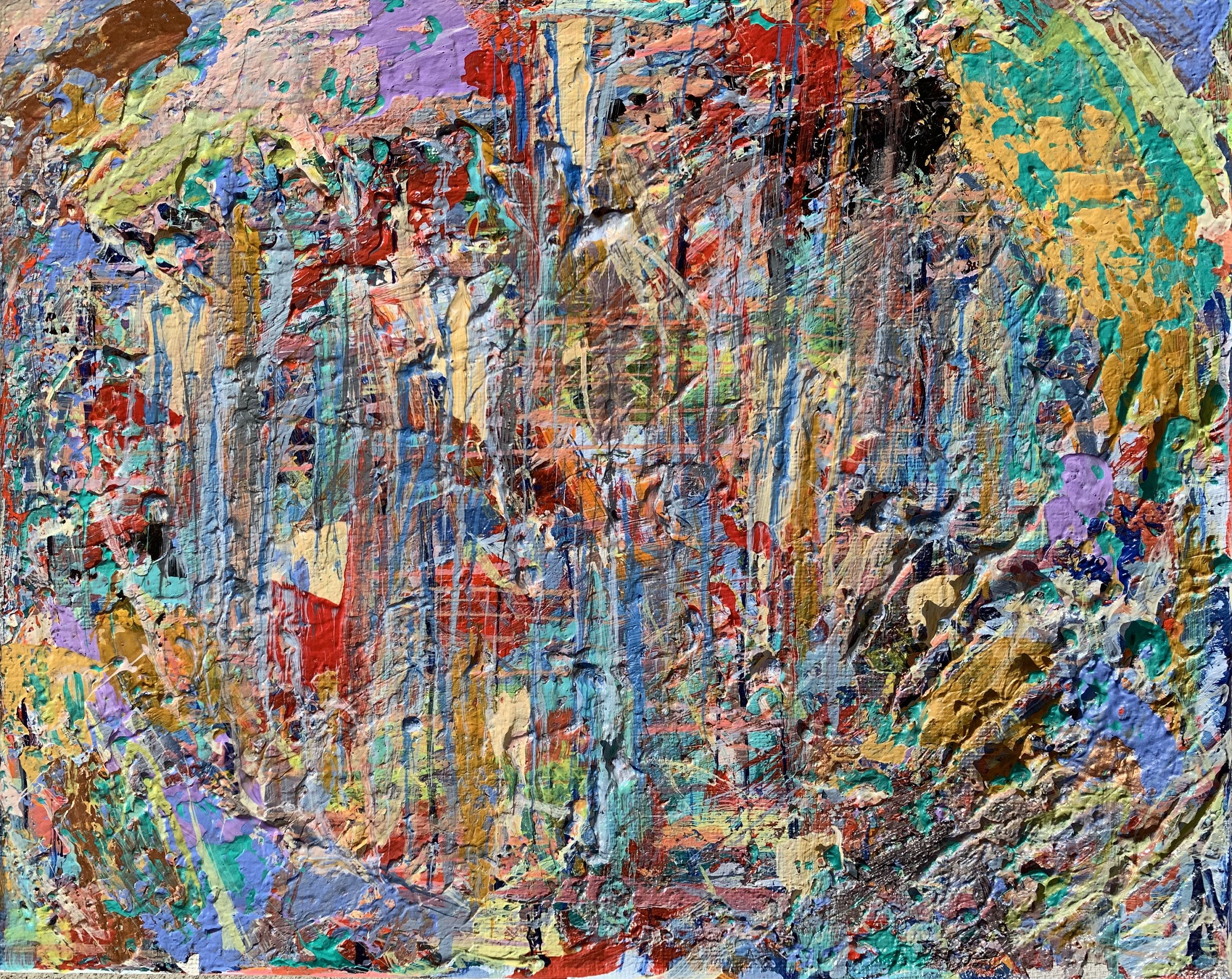 Framed Original Abstract Painting, Artist John Young, Signed 41 x 41 (photo in Lot 471 shows